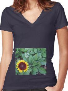 sunflower impression  Women's Fitted V-Neck T-Shirt