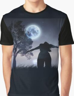 Lonely Night Landscape Graphic T-Shirt