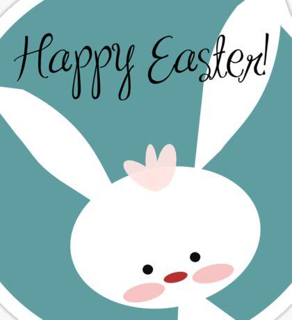 "Cute ""Happy Easter"" Bunny Sticker"