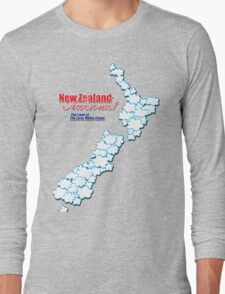 The Land of The Long White Cloud, New Zealand Long Sleeve T-Shirt