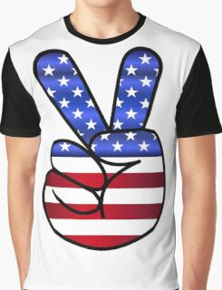 US Flag Peace Hand Sign Graphic T-Shirt