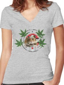 Hamster Jam Women's Fitted V-Neck T-Shirt
