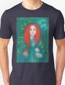 Child of the forest, pastel painting, fantasy art, green shades Unisex T-Shirt