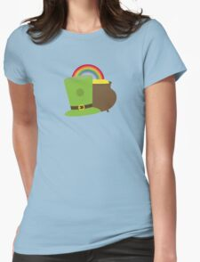 rainbow gold and leprechaun Womens Fitted T-Shirt