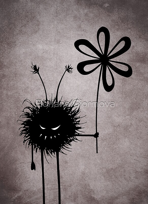 Evil Flower Bug dark vintage textured illustration