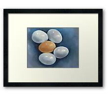 Five Chicken Eggs: Oil Pastel Still Life: Art, Painting Framed Print