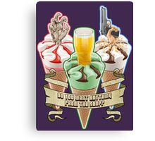 Three Flavours Cornetto Trilogy with banner Canvas Print
