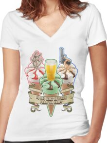 Three Flavours Cornetto Trilogy with banner Women's Fitted V-Neck T-Shirt