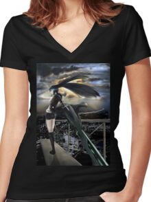 Standing In The Edge Women's Fitted V-Neck T-Shirt