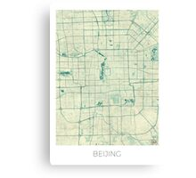 Beijing Map Blue Vintage Canvas Print