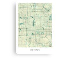 Beijing Map Blue Vintage Canvas Print