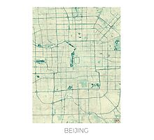 Beijing Map Blue Vintage Photographic Print
