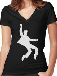 White Elvis Women's Fitted V-Neck T-Shirt