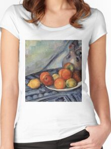 Paul Cezanne - Fruit and a Jug on a Table  Impressionism  Still Life Women's Fitted Scoop T-Shirt