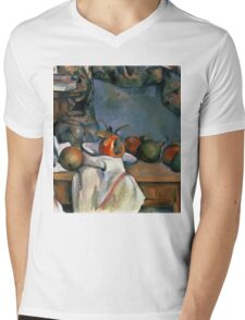 Paul Cezanne - Ginger Pot with Pomegranate and Pears 1893 Impressionism  Still Life Mens V-Neck T-Shirt