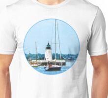 Boat Near Lighthouse, Bristol, RI Unisex T-Shirt