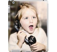 Little emotive girl speaking vintage wired telephon iPad Case/Skin