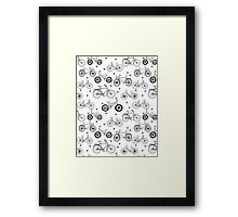bicycles black and white hand drawn print pattern andrea lauren Framed Print