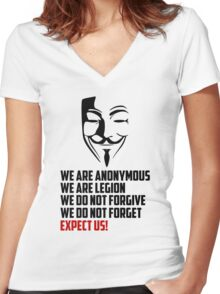 We are Anonymous Women's Fitted V-Neck T-Shirt
