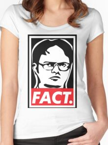 """The Office: Dwight """"FACT' Obey Women's Fitted Scoop T-Shirt"""