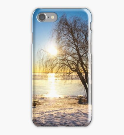 Winter morning on the river iPhone Case/Skin