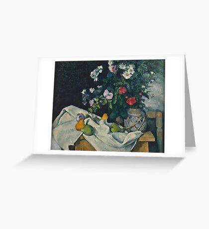 Paul Cezanne - Still Life with Flowers and Fruit 1888 - 1890 Greeting Card
