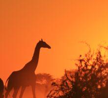 Giraffe Silhouette - African Wildlife Background - Going to the Sun Sticker