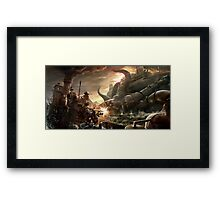 Steampunk Octopus Battle Framed Print