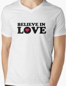 Believe In Love Mens V-Neck T-Shirt