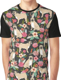 Pugs of Spring pattern print dogs puggle puppy floral flowers nature pug dog walker dog gifts for pug owners Graphic T-Shirt