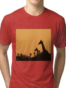 Giraffe Silhouette - African Wildlife Background - Colors in Nature Tri-blend T-Shirt