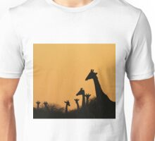Giraffe Silhouette - African Wildlife Background - Colors in Nature Unisex T-Shirt