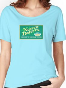 Welcome to North Dakota, Road Sign, USA Women's Relaxed Fit T-Shirt