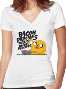 Bacon Pancakes - Adventure Time Women's Fitted V-Neck T-Shirt