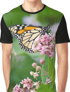 Monarch Butterfly on Milkweed Flower Graphic T-Shirt