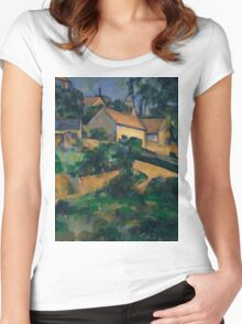 Paul Cezanne - Turning Road at Montgeroult 1898 Impressionism  Landscape Women's Fitted Scoop T-Shirt