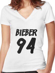 Bieber 94 Women's Fitted V-Neck T-Shirt