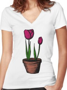 Potted Tulips Women's Fitted V-Neck T-Shirt