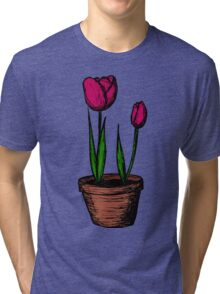 Potted Tulips Tri-blend T-Shirt