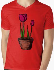 Potted Tulips Mens V-Neck T-Shirt