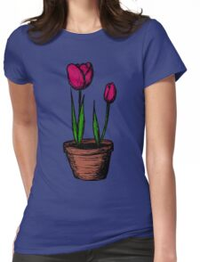 Potted Tulips Womens Fitted T-Shirt