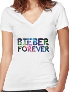 Justin Bieber Forever Women's Fitted V-Neck T-Shirt