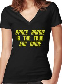 Space Barbie v2 Women's Fitted V-Neck T-Shirt