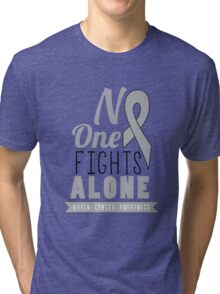 No One Fights Alone - Brain Cancer Awareness Tri-blend T-Shirt