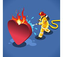 Sick Heart and Fireman Photographic Print