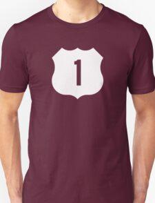 US Route 1 Sign, USA - Contrast Version Unisex T-Shirt