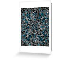 Black, white, turquoise mandala pattern  Greeting Card