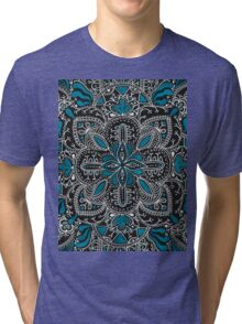 Black, white, turquoise mandala pattern  Tri-blend T-Shirt