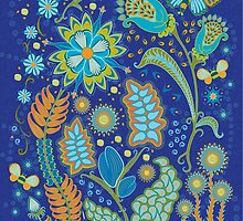 Fantasy Floral on Blue by Kathleen Dupree