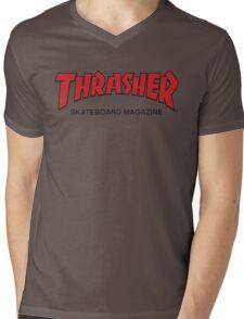 Thrasher Magazine Red Logo Design Mens V-Neck T-Shirt